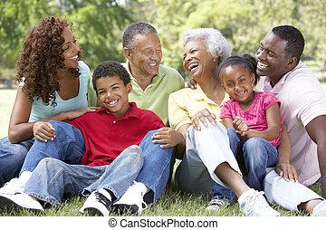 liget, kiterjedt, csoport, család portré