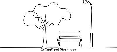 liget, lantern., rajz, fa megtölt, egy, bírói szék