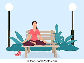 liget, nő, jóga, bírói szék
