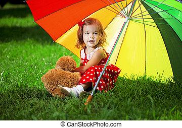 liget, szivárvány, kevés, esernyő, leány