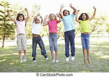 liget, ugrás, csoport, gyerekek, levegő
