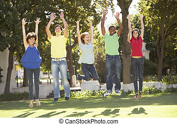 liget, ugrás, csoport, tizenéves, levegő