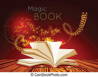 light., könyv, varázslatos, kinyitott
