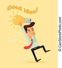 lightbulb, befolyás, betű, ember