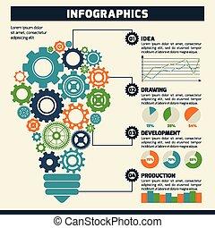 lightbulb, bekapcsol, infographics