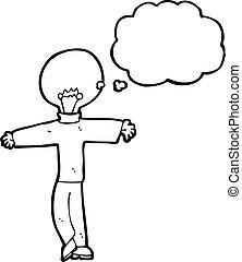 lightbulb, fej, karikatúra, ember