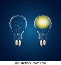 lightbulb, -, két, gyakorlatias, vektor, el