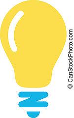 lightbulb, vektor, ikon