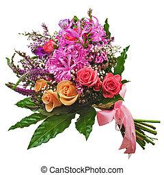 liliomok, csokor, elszigetelt, háttér., agancsrózsák, virágos, fehér, orhideák, closeup.