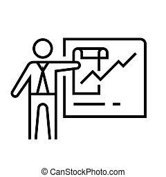 lineáris, fogalom, áttekintés, jelkép., ikon, gyűlés, aláír, vektor, napirend, egyenes, ábra