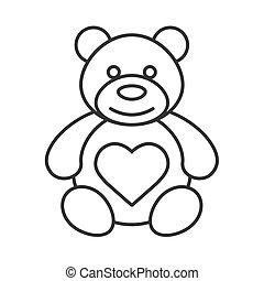 lineáris, hord, szív alakzat, ikon, teddy-mackó