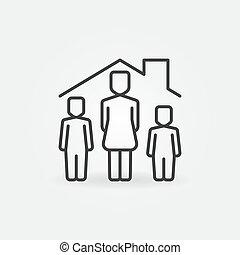 lineáris, ikon, nő, alatt, vektor, épület, tető, childs, két