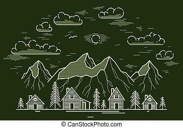 lineáris, sóvárog, rest., vadon, ábra, erdő, rajz, vektor, utazás, nyaralók, hegy, művészet, egyenes, erdő, bitófák, vidéki, lőtávolság, fahasáb faház, fából való, vidéki táj, sötét, épület, falu