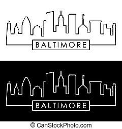 lineáris, style., baltimore, skyline.