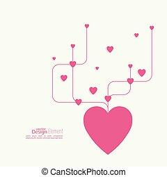 lines., szív, keresztező, görbe