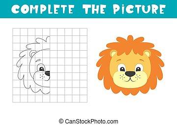lion., book., picture., befejez, másol, page., játék, elfoglaltság, film, színezés, művészet, gyerekek