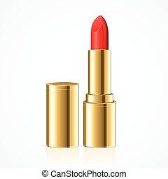 lipstick., vektor, piros