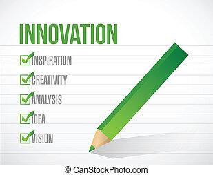 lista, ábra, megjelöl, tervezés, újítás, ellenőriz