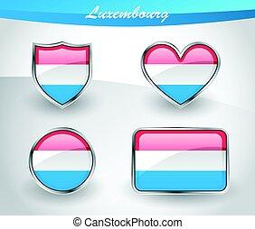 lobogó, állhatatos, sima, luxemburg, ikon