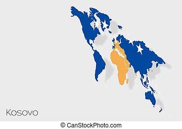 lobogó, 3, ország, isometric, ábra, kosovo