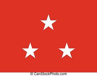 lobogó, alakulat, tengeri, egyesült, három, altábornok, csillag, egyesült államok