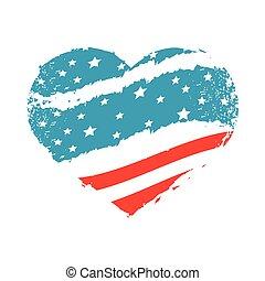 lobogó, amerikai, alakú, szív