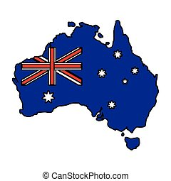 lobogó, ausztrália, fehér, térkép háttér