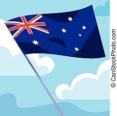 lobogó, ausztrália, hullámzás, fehér, bot, háttér