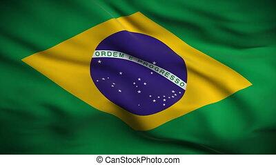 lobogó, brazíliai, looped., hd.