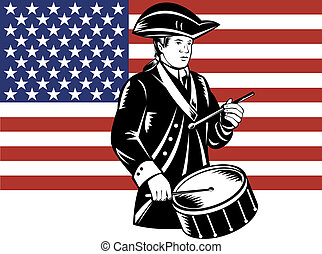 lobogó, dobos, amerikai, patrióta