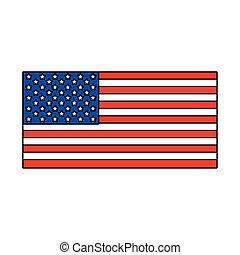 lobogó, egyesült, háttér, fehér, egyesült államok