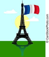 lobogó, eiffel emelkedik, franciaország