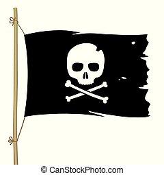 lobogó, fekete, jelkép., koponya, kalóz