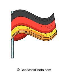 lobogó, háttér, hullámzás, fehér, németország