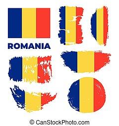 lobogó, háttér., vektor, ábra, románia, fehér