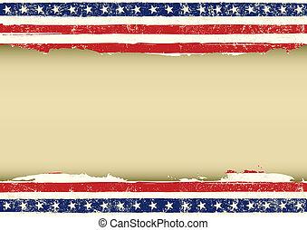 lobogó, horizontális, amerikai, koszos
