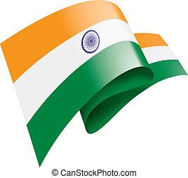 lobogó, india, ábra, vektor, háttér, fehér