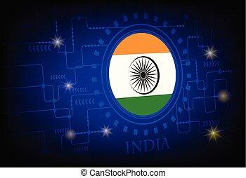 lobogó, india, háttér, technology.