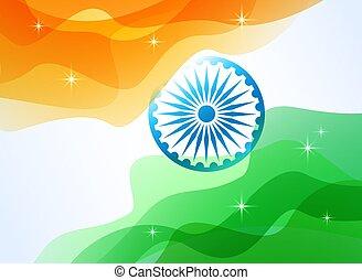 lobogó, indiai, fehér, háttér.