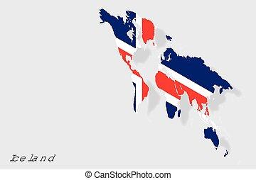 lobogó, izland, 3, ország, isometric, ábra