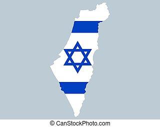 lobogó, izrael, térkép, vektor, ábra