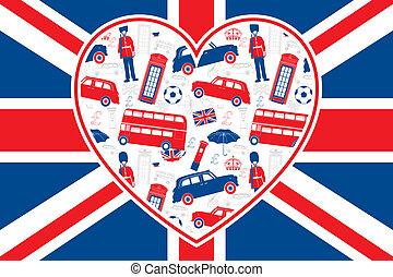 lobogó, london, -, szív, brit, ikonok