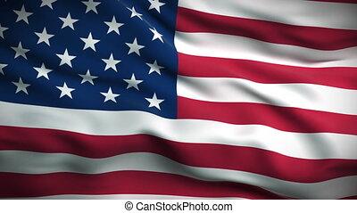 lobogó, looped., amerikai, hd.