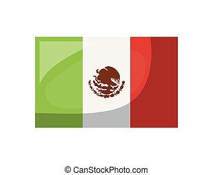 lobogó, mexikói, white háttér