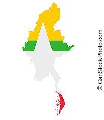lobogó, myanmar, térkép