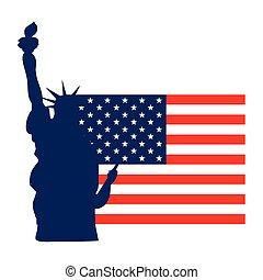 lobogó, szobor, amerikai, szabadság