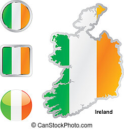lobogó, térkép, háló, gombok, írország, alakzat
