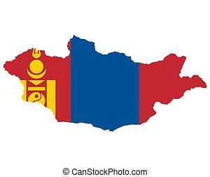 lobogó, térkép, mongólia