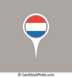 lobogó, térkép, vektor, illustration., ikon, luxemburg, elhelyezés