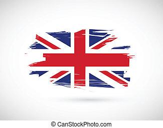 lobogó, tervezés, brit, ábra, tinta